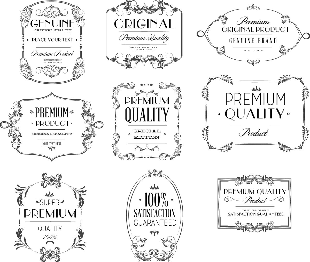 Luxury calligraphy frame set vector