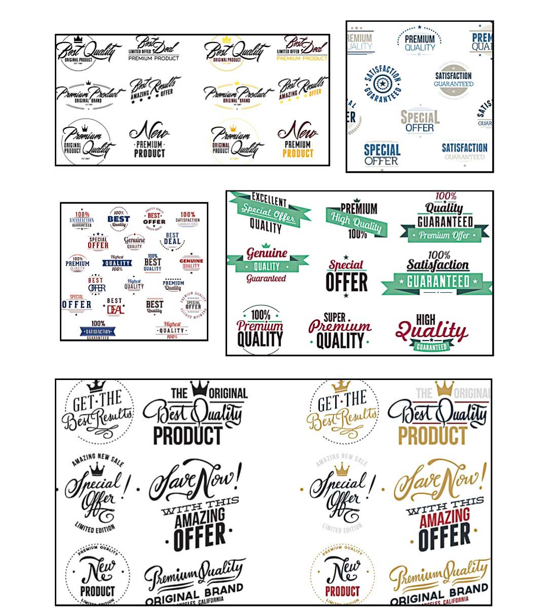 Advertising labels with offers and sale set vector