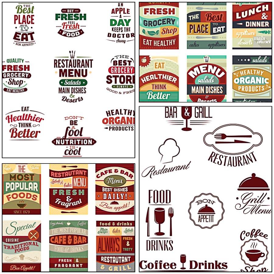 Menu design logo poster set vector