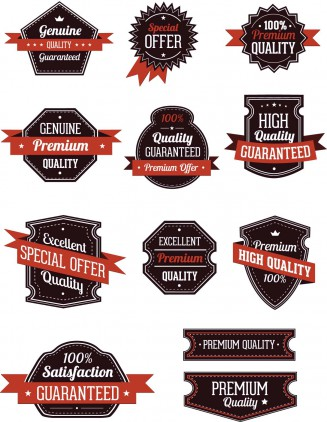 Labels and badges retro red and black set vector
