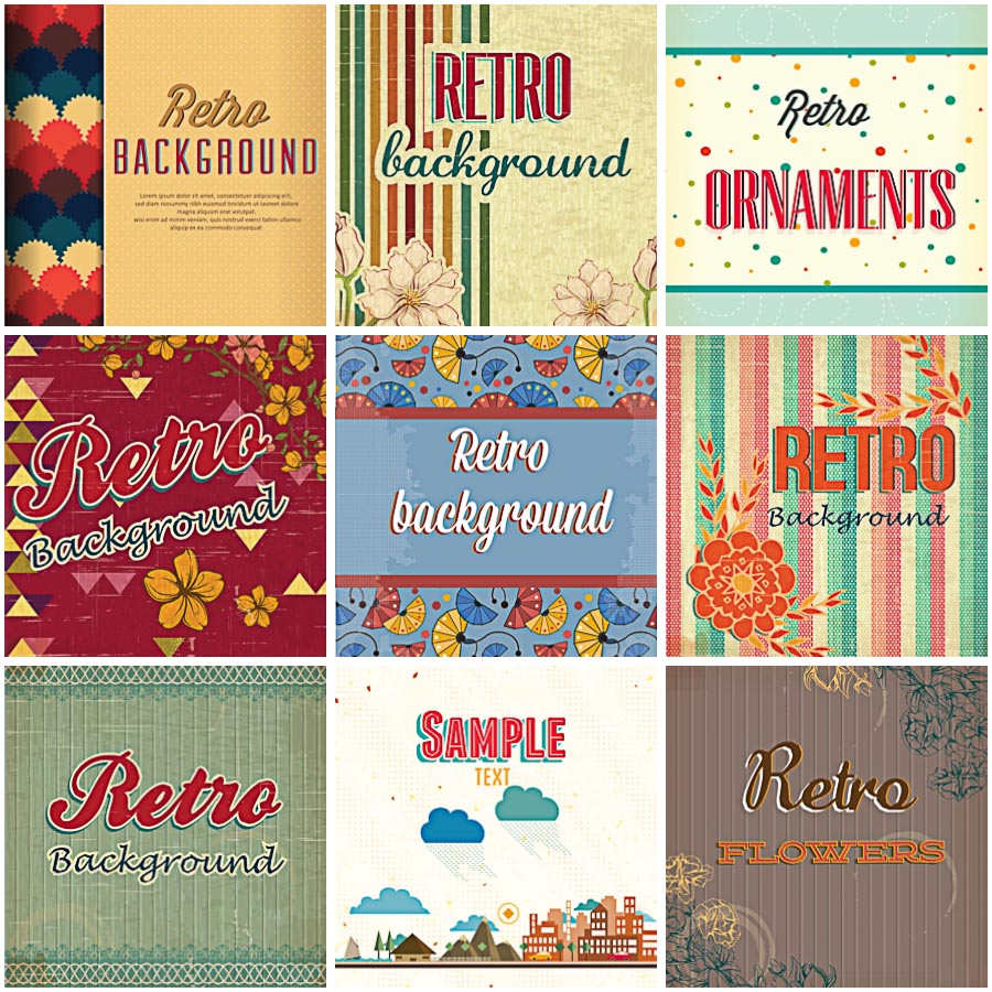 Retro patterns stripes and dots set vector