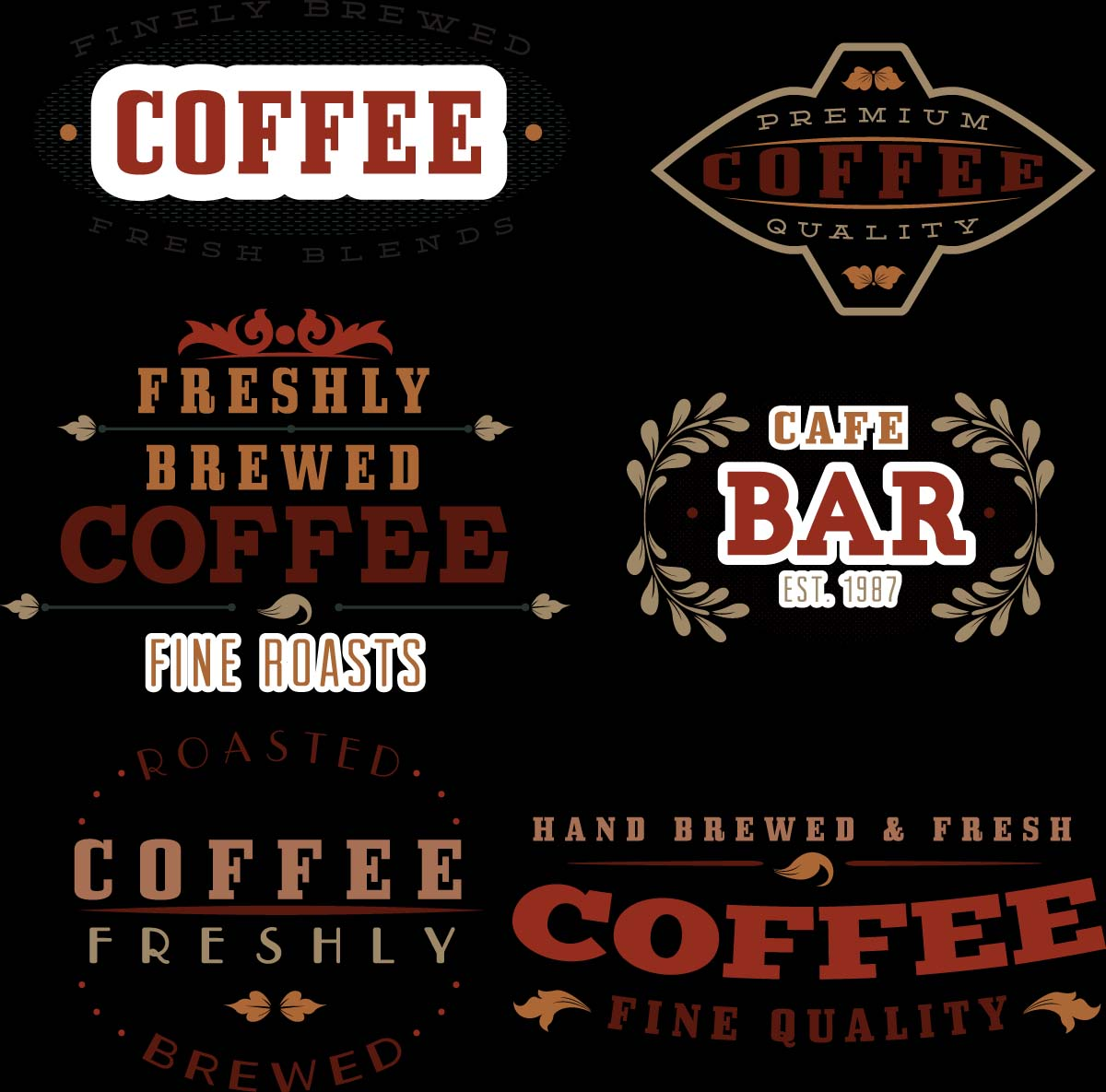 Coffee bakery cafe logotype set vector