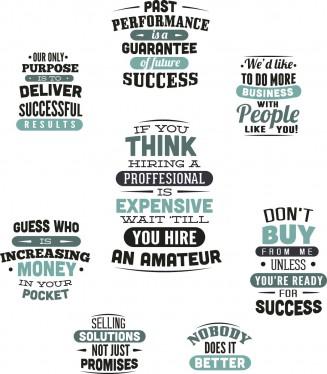 Slogans for sale industry t-shirt print set vector