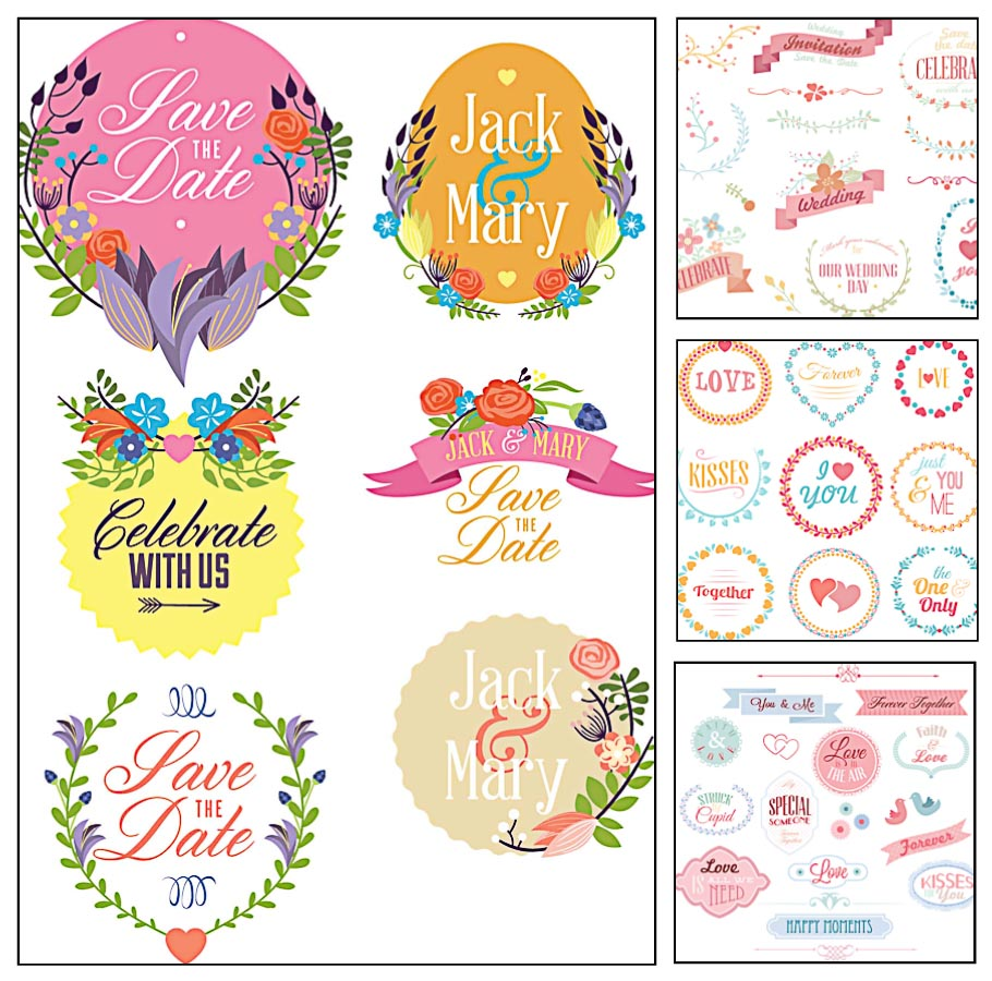 Wedding save the date laurel floral wreaths set vector