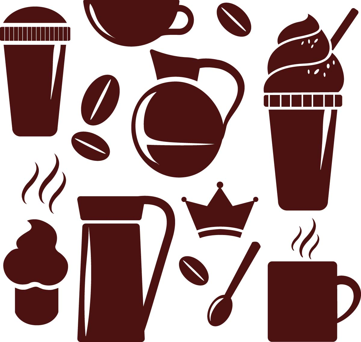 Coffee cups and beans decorative set vector