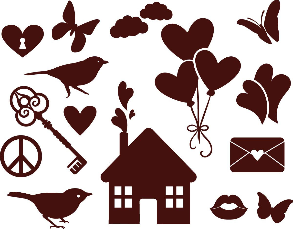 Romantic elements love set vector