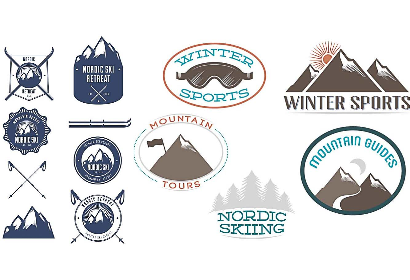 Winter sports stamps ski set vector