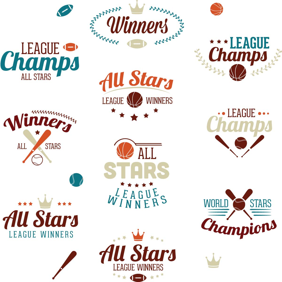 Baseball sport labels champions set vector