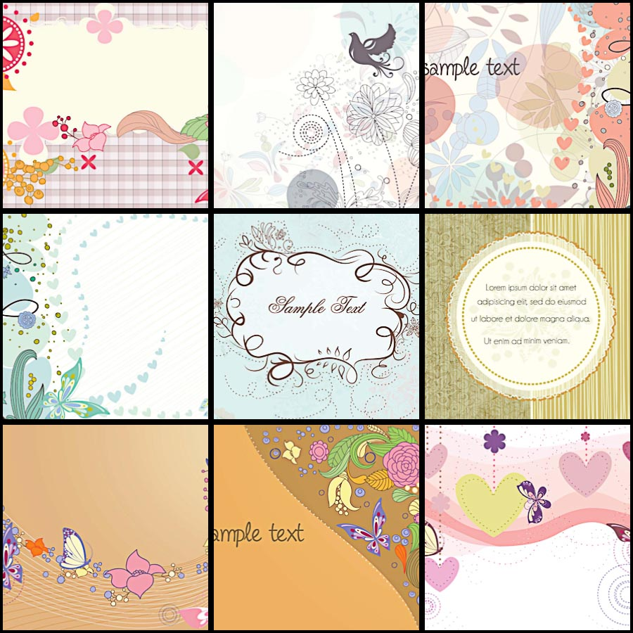 Spring background birds and butterflies set vector