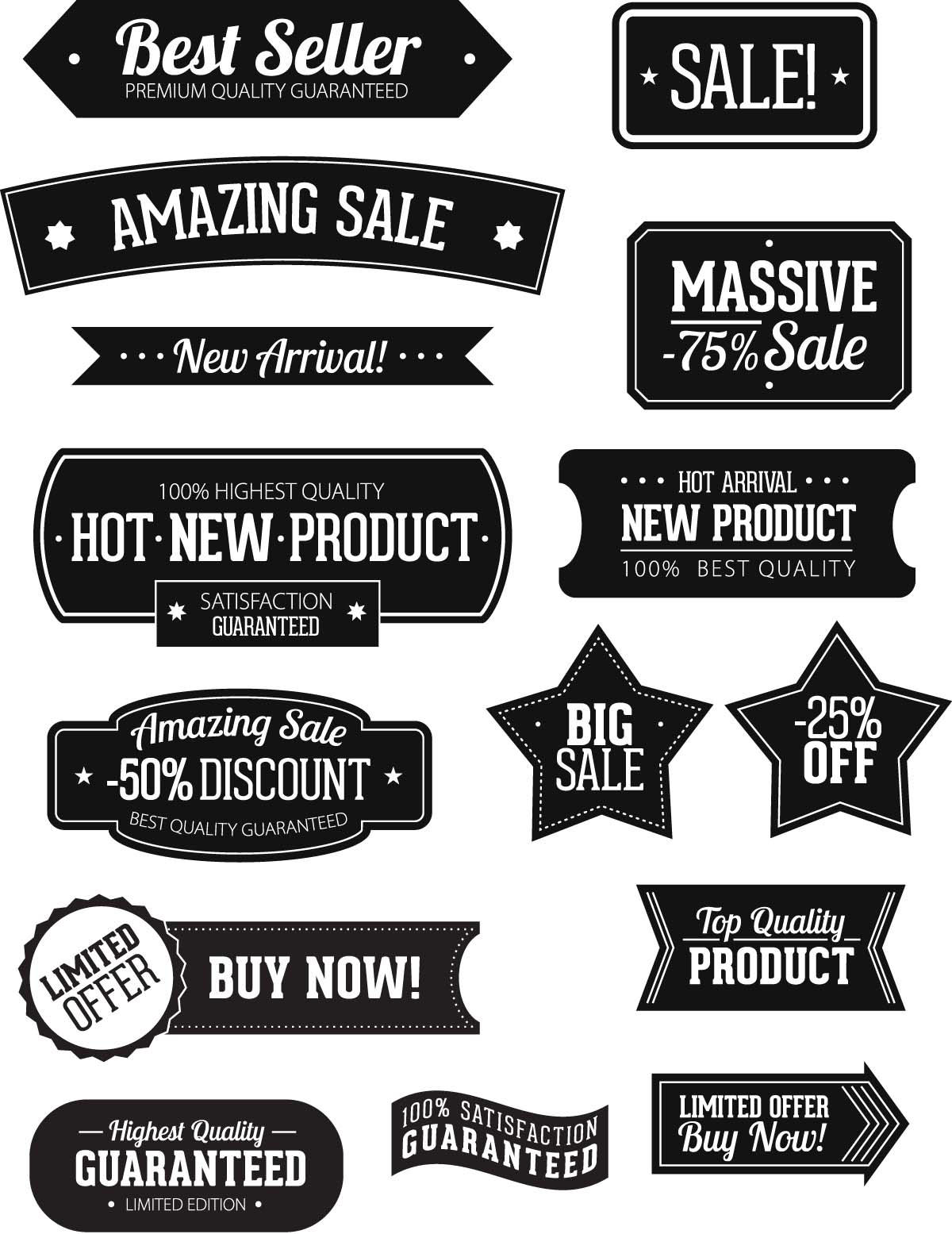 Black labels products set vector