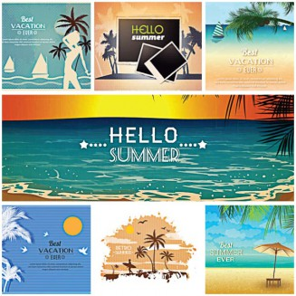 Retro postcards summer palms vacation set vector