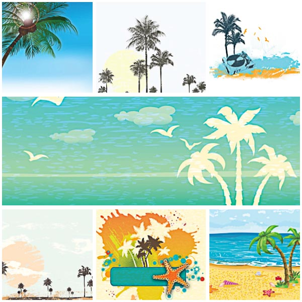 Summer sea and beach card elements set vector