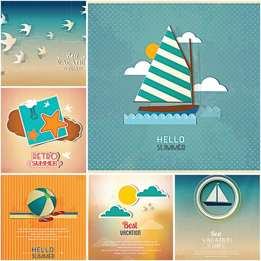 Summer vacation holidays with boat set vector