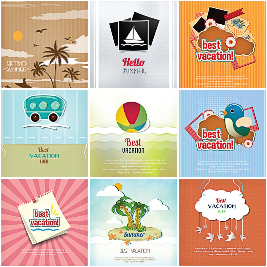 Best vacation retro cards set vector