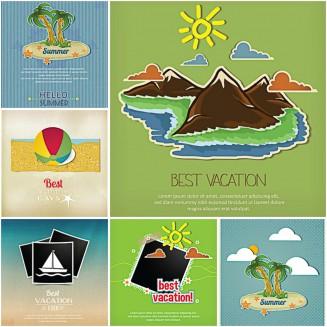 Best summer vacation postcard photo set vector