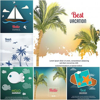Best summer vacation on beach card set vector