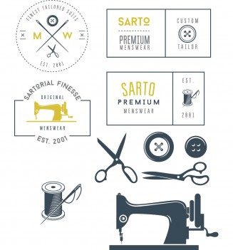 Tailor elements  label and logo set vector