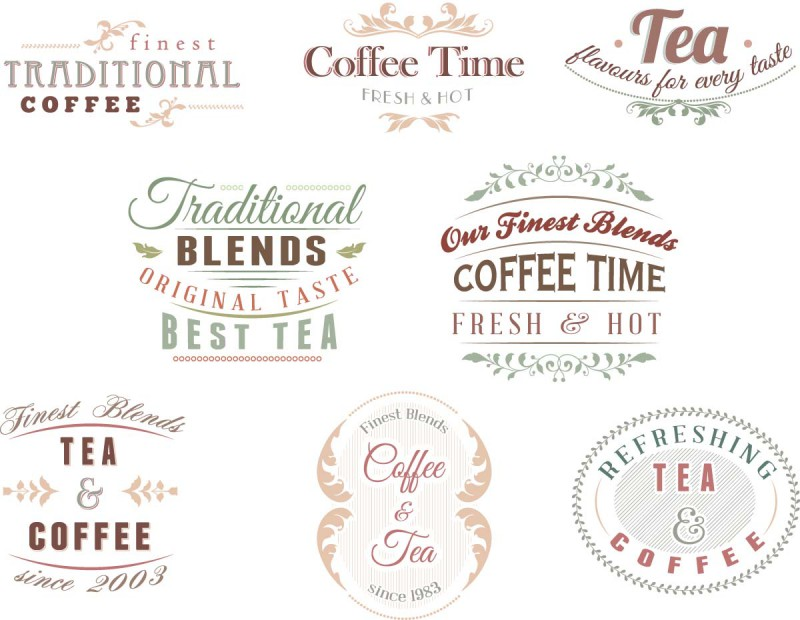 Tea Coffee Logo Set Vector Cgispread Free Download