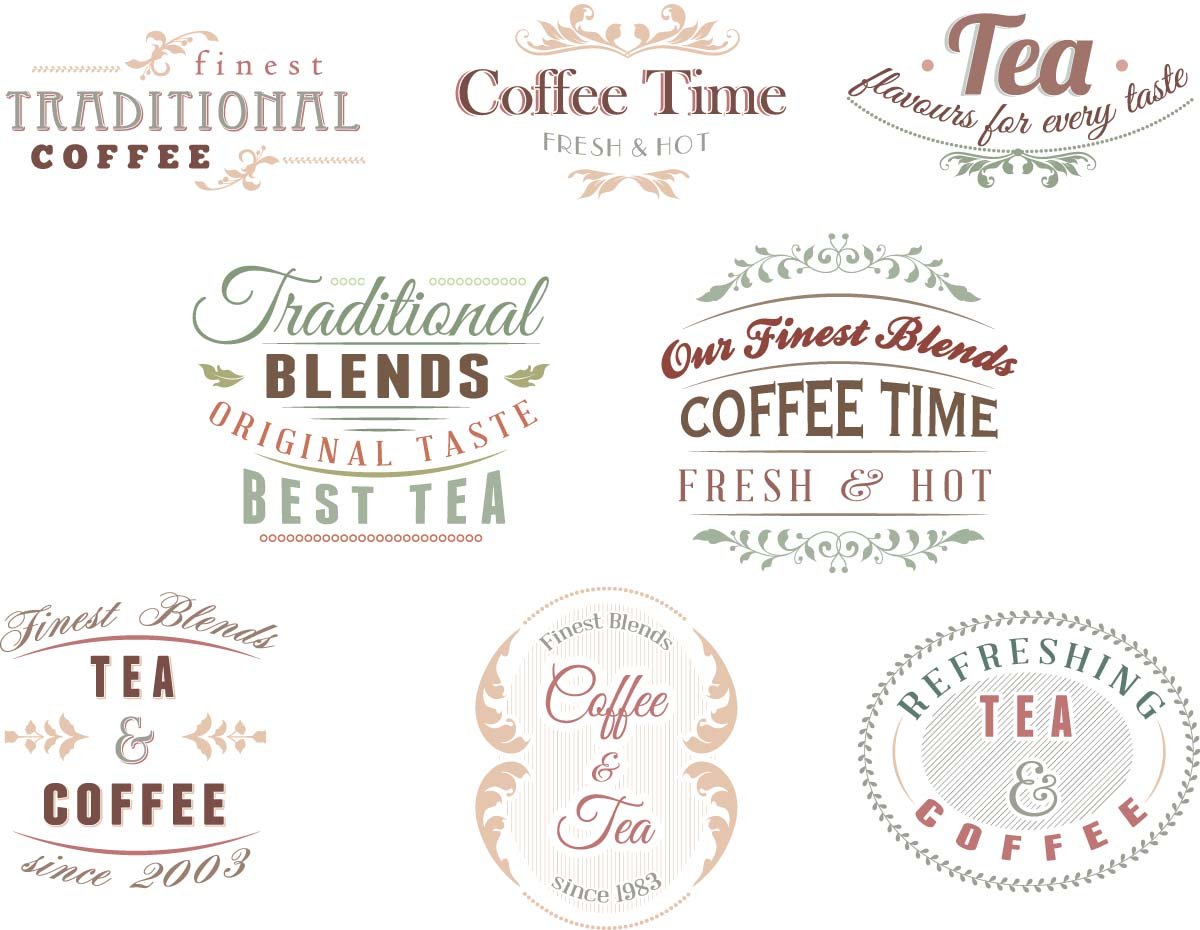 Coffee shop bakery logotype set vector