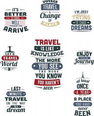 Travel t-shirt prints set vector
