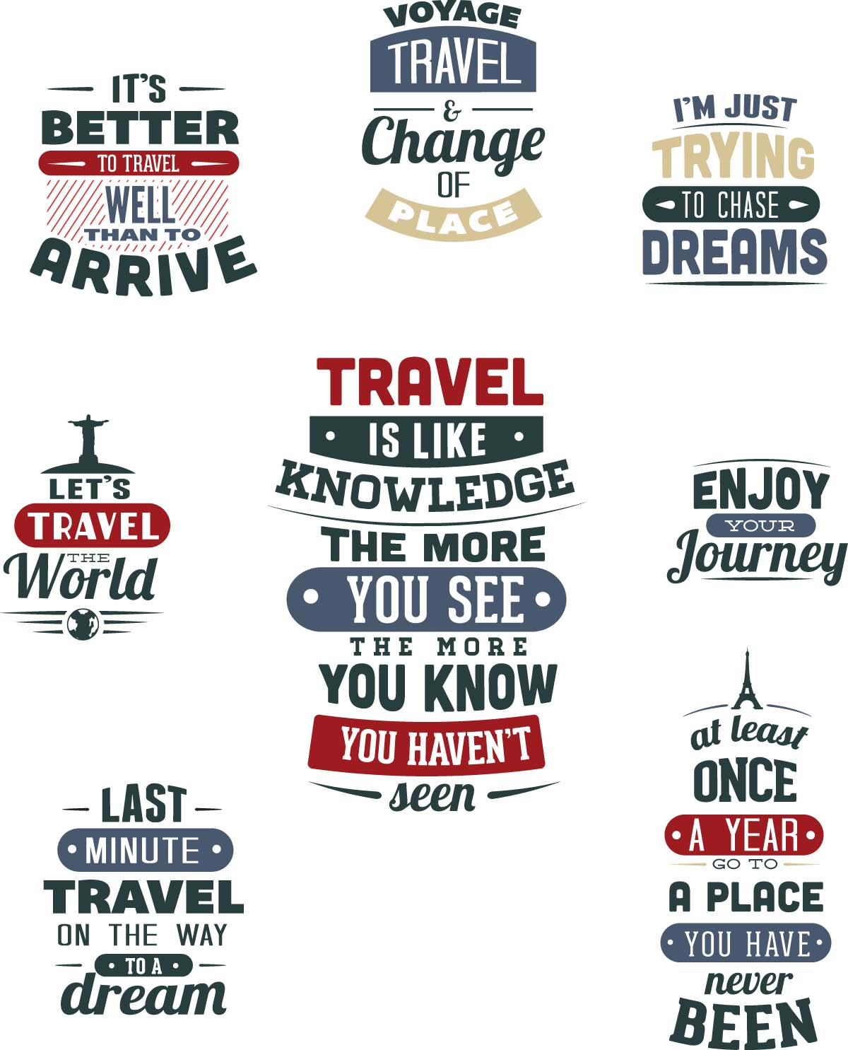 Travel t-shirt prints set vector
