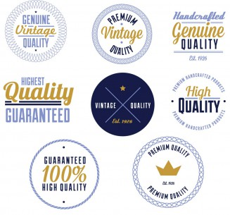 Modern quality products stamp set vector