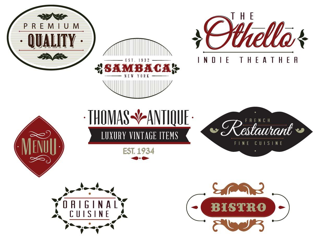 Retro menu labels logo cafe set vector