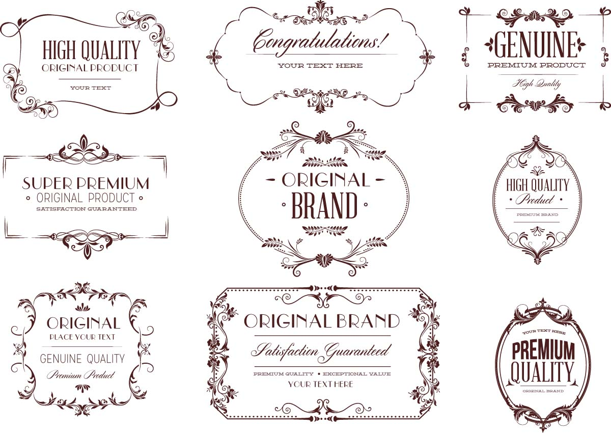Vintage typography design elements frame set vector