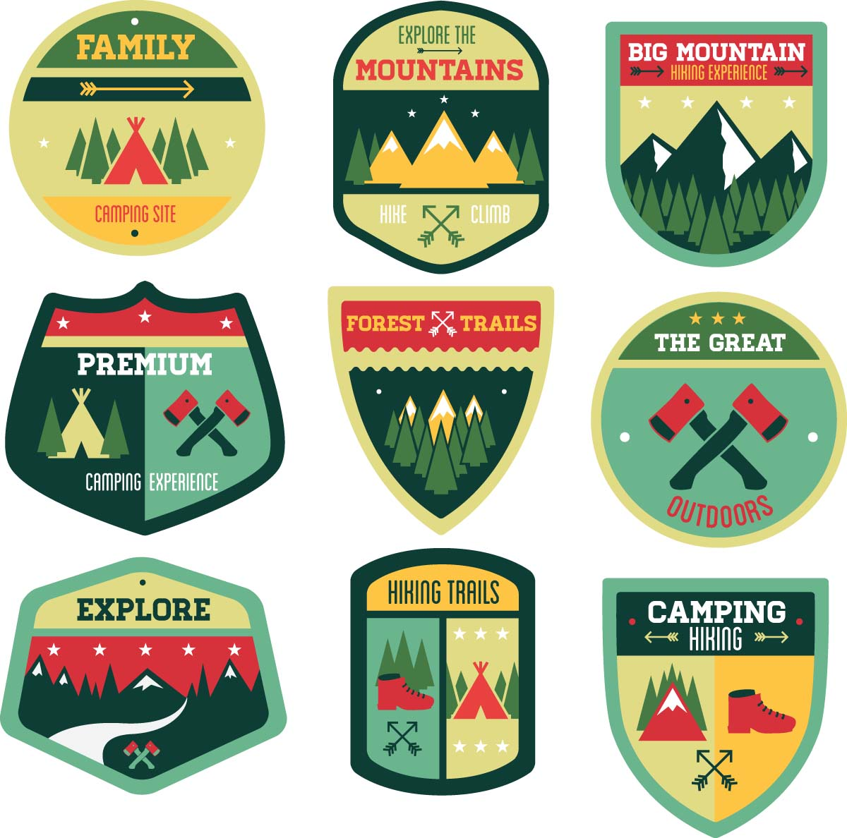 Outdoor adventures badge vintage set vector