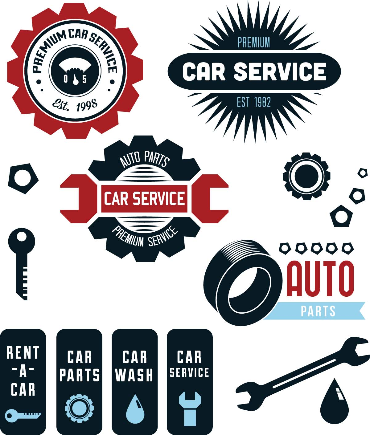 Vintage Vector Car Service Labels Free Download