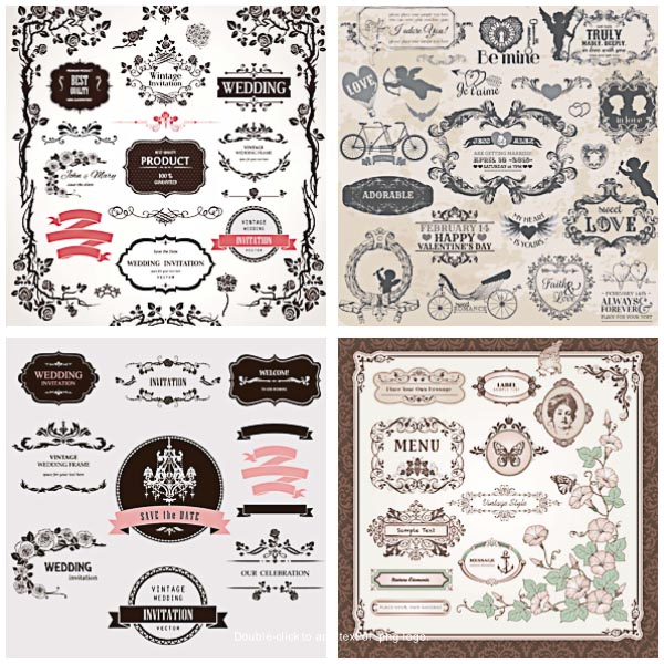 Save the date card and wedding invitations free set vector