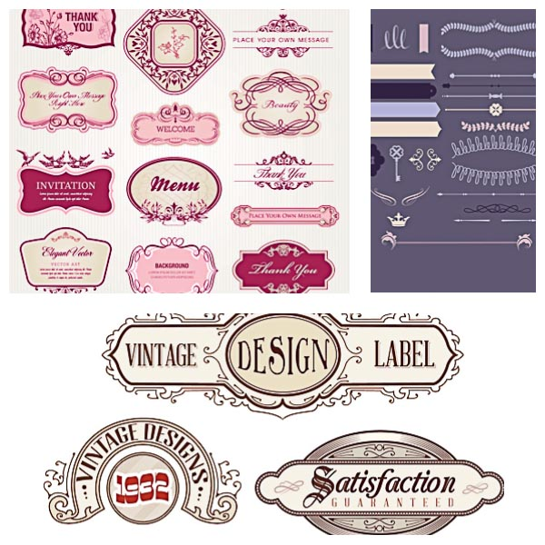 Vintage frames label set vector