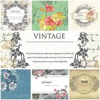Floral vintage peony frame set vector