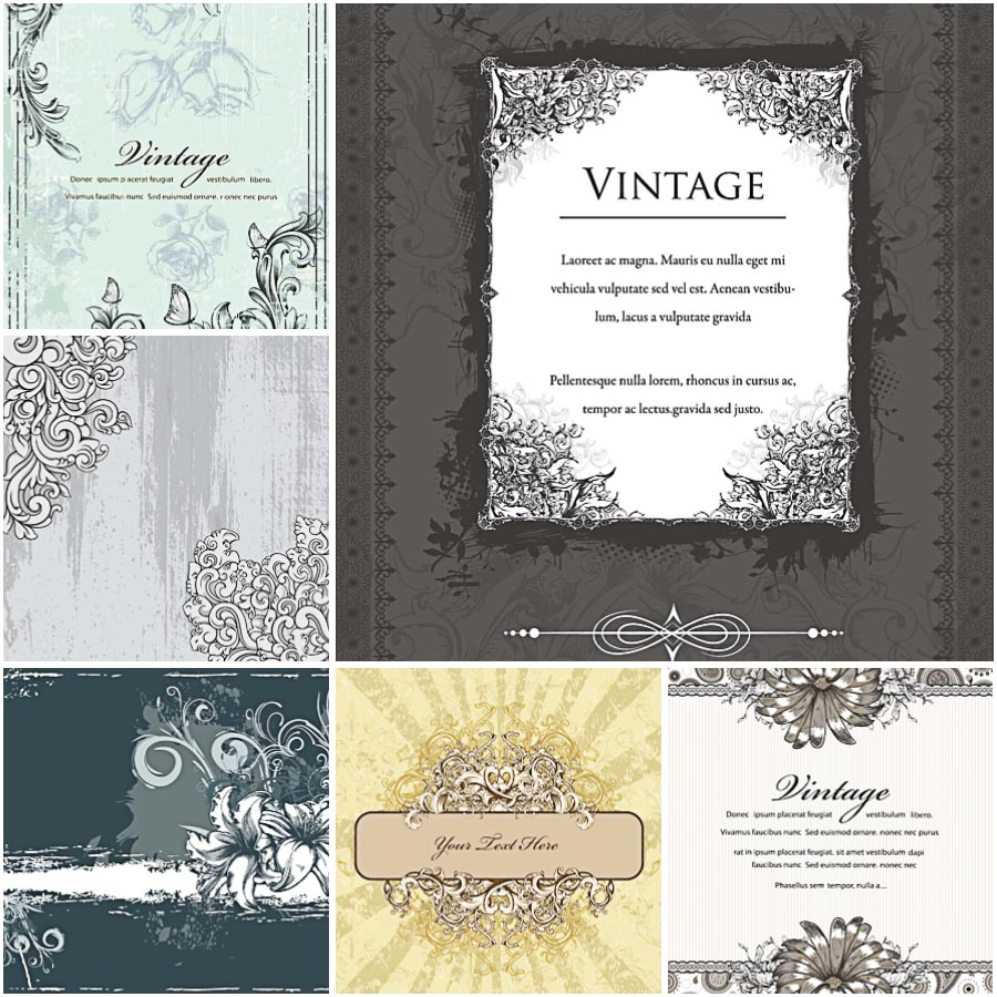 Retro invitations with swirls set vector