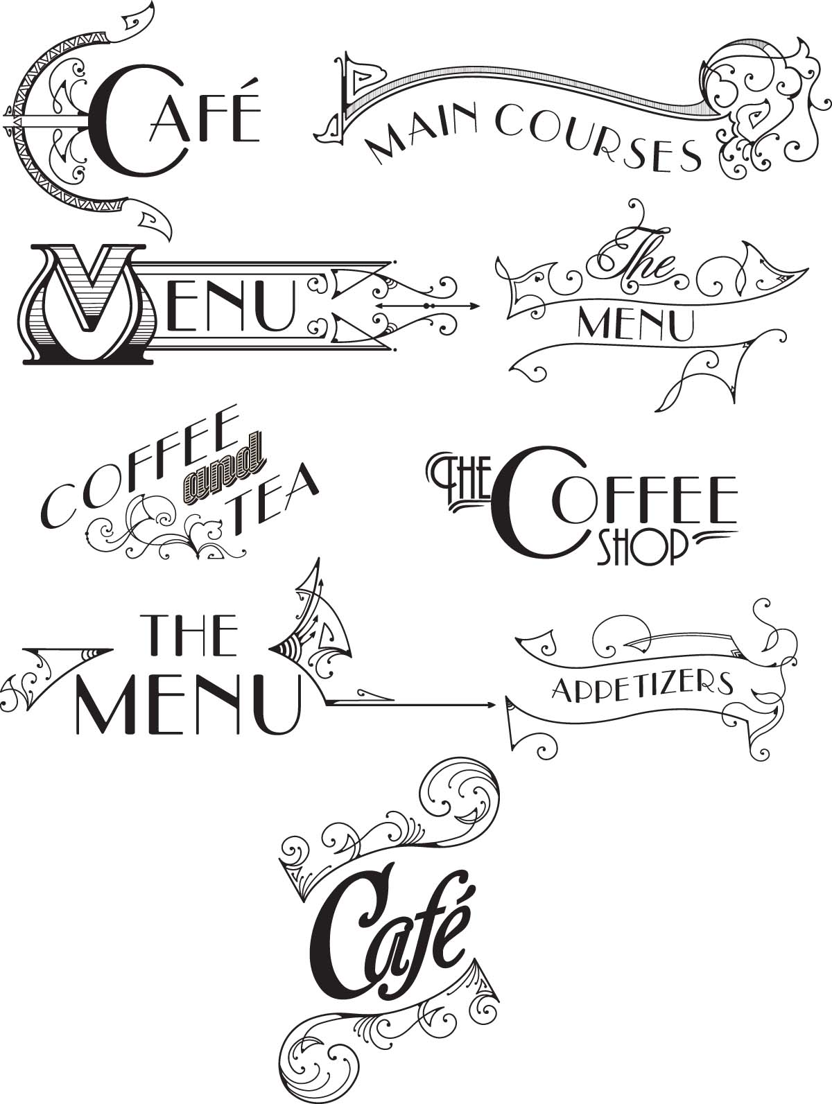 Retro menu logo set vector