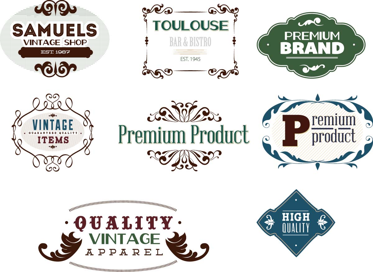 vintage premium labels set vector free download