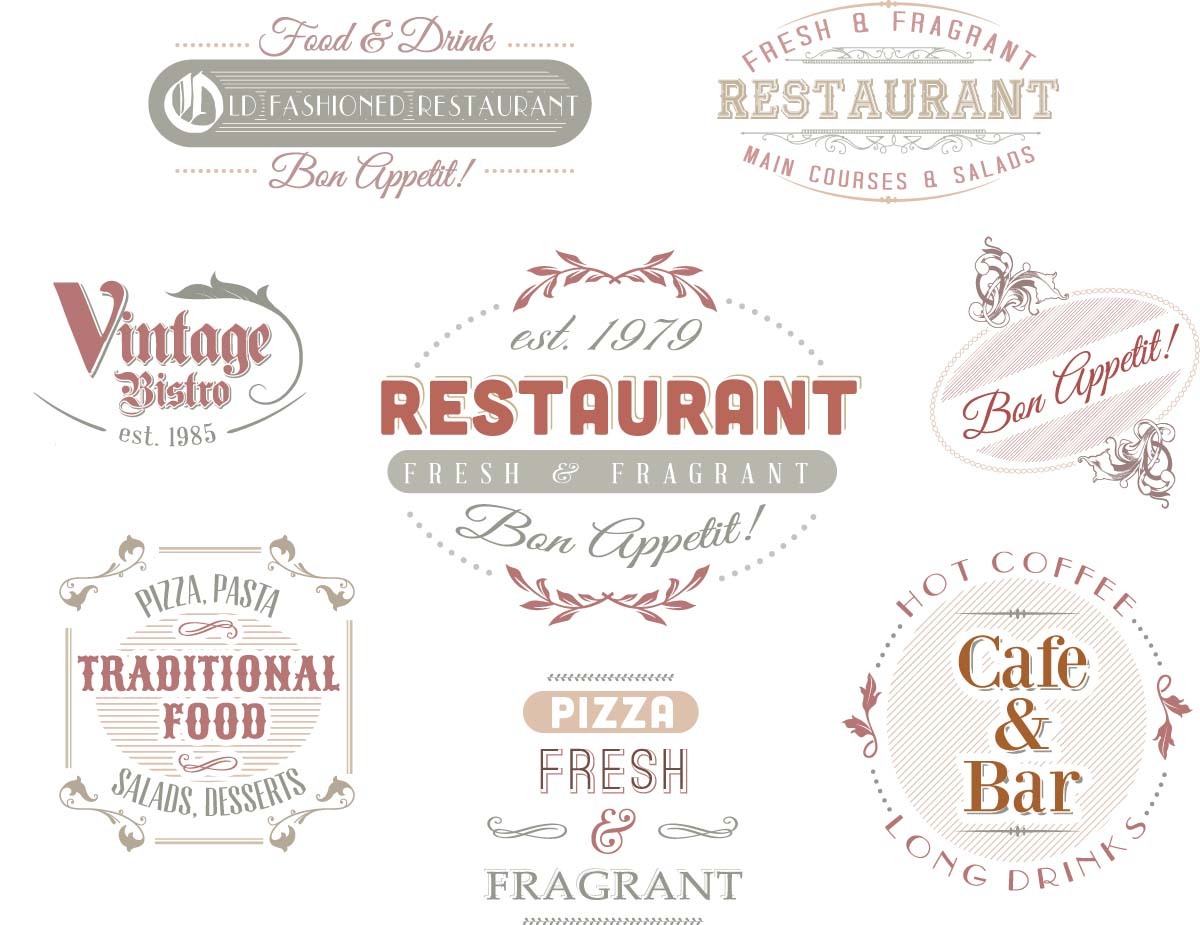 Ornate vintage logo for cafe restaurant set vector