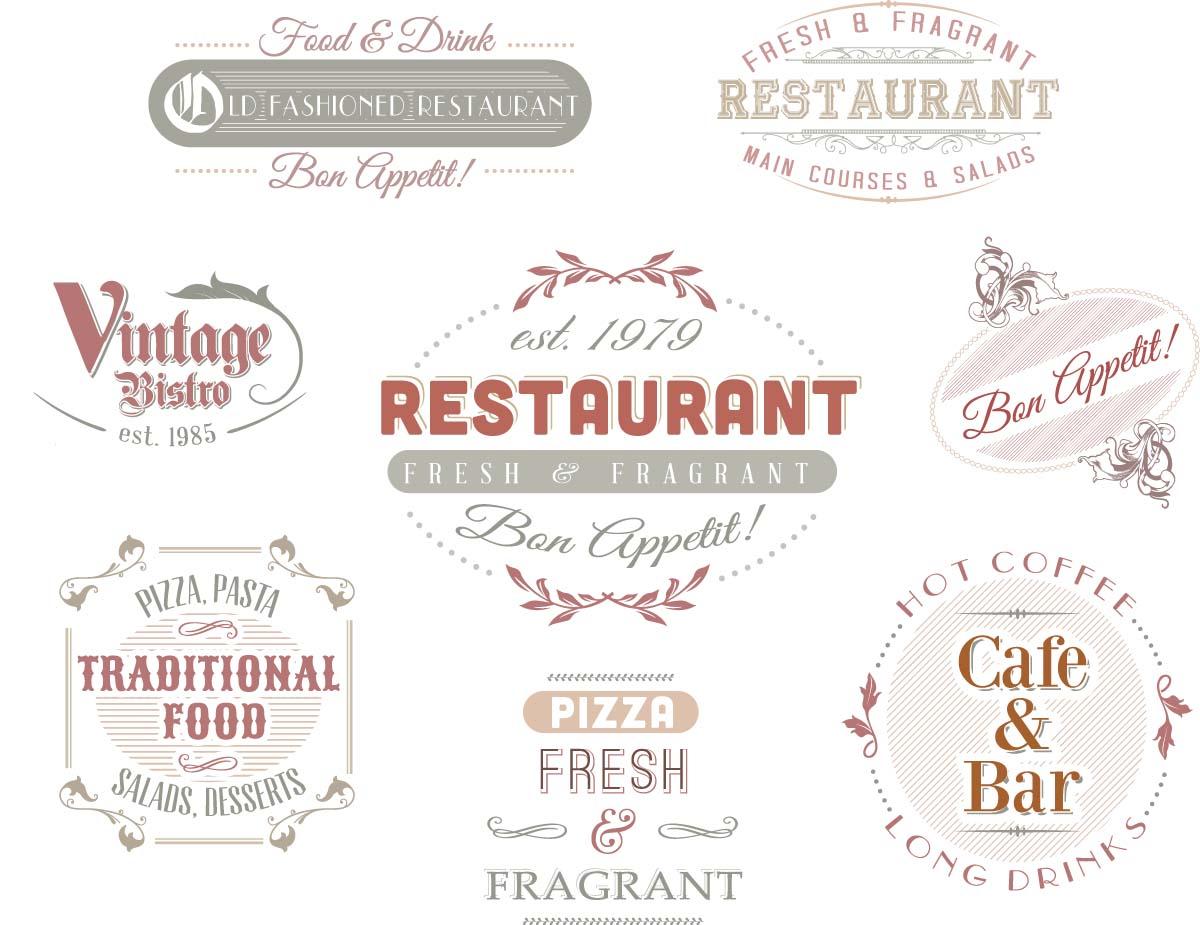 Ornate vintage logo for cafe restaurant set vector