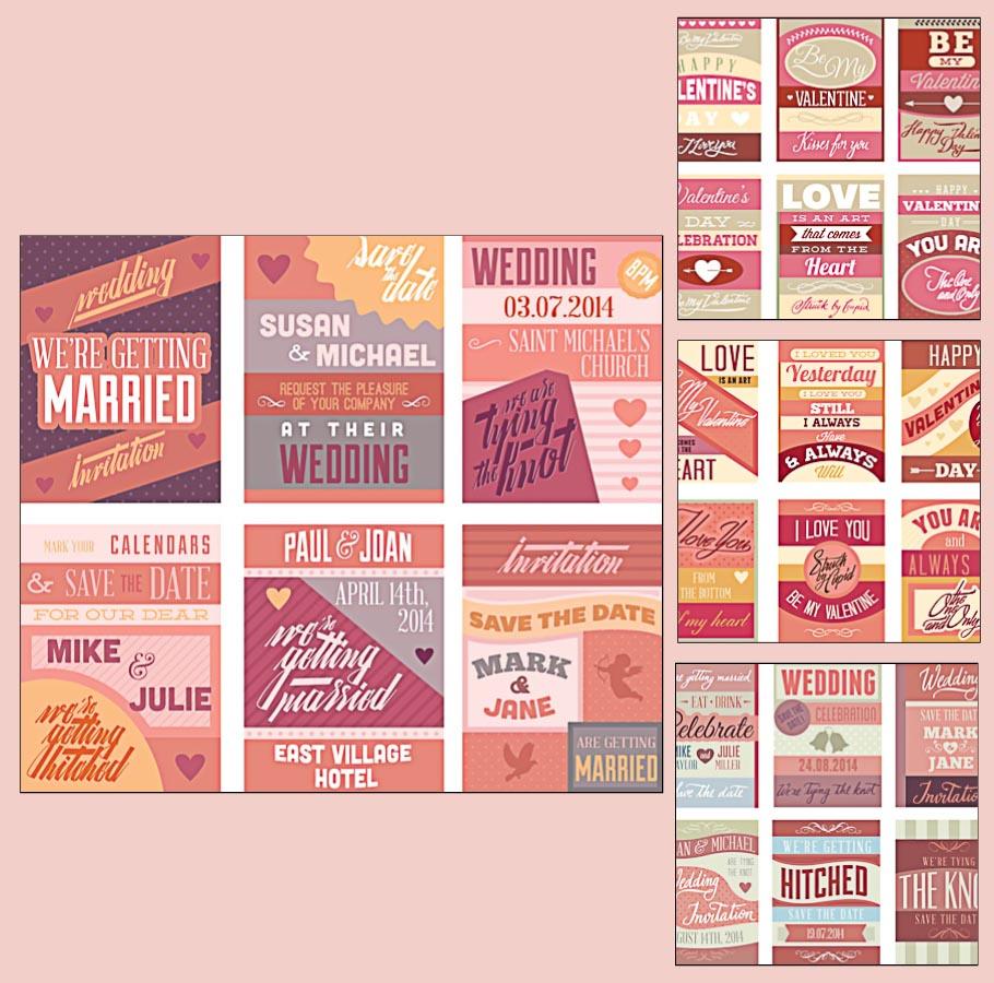 Invitations for wedding typographic design set vector