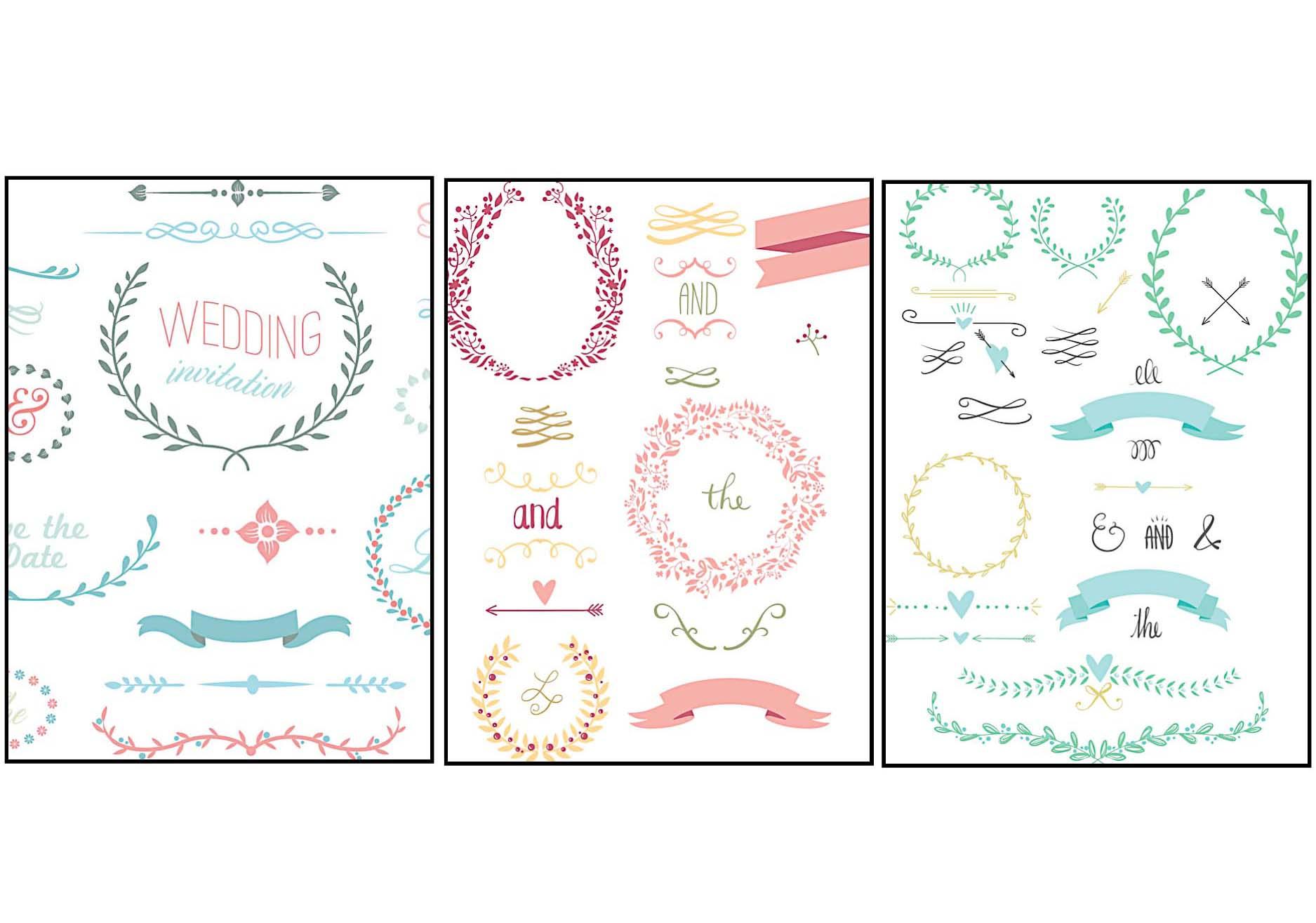 Wedding elements floral laurel set vector