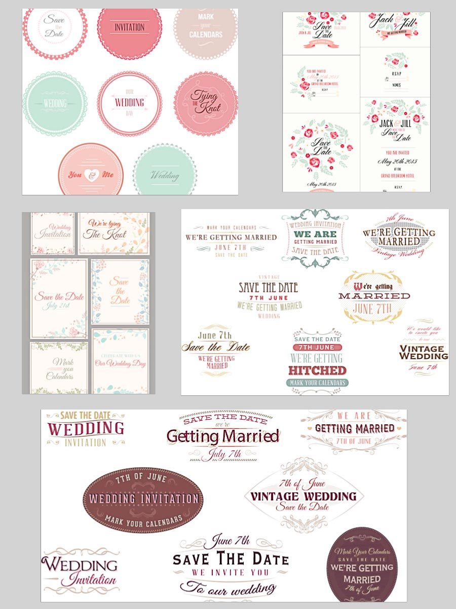 Wedding invitations and badges set vector