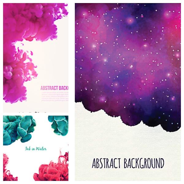 Colorful abstract smoke nebula background set vector