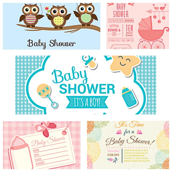 Cute baby shower invitations set vector