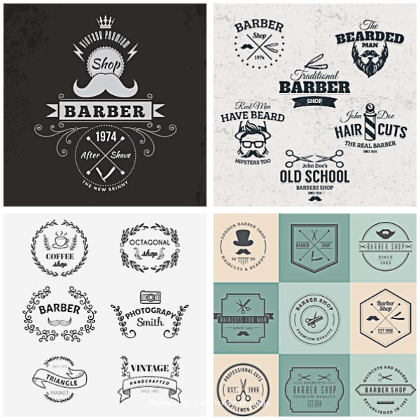 Logotype and badges for barber shop set vector