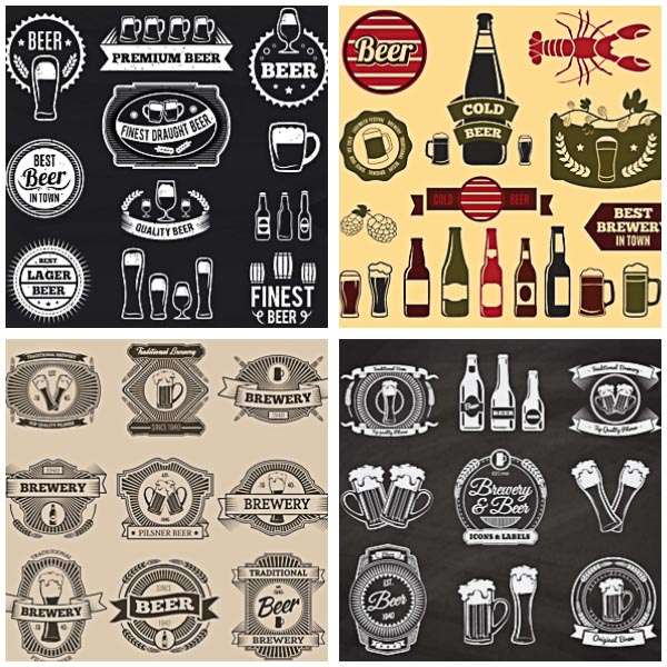 Retro beer logotypes and badges set vector