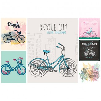 Bicycle retro urban illustration set vector