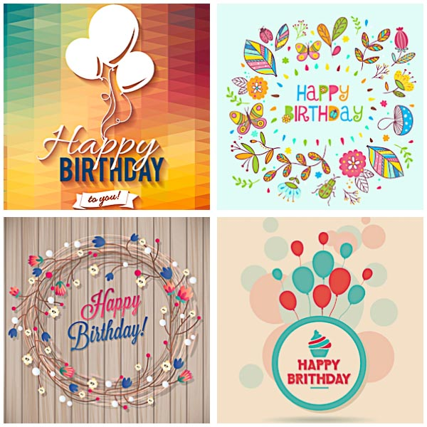 Bright Birthday postcard set vector