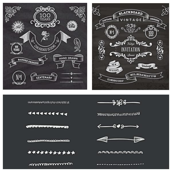 Chalkboard calligraphic ornaments and borders set vector