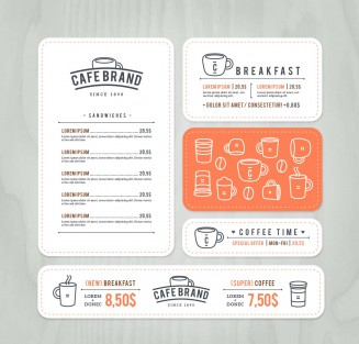Restaurant menu card template set vector