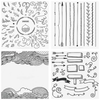 Calligraphic arrows and ornaments decorative set vector
